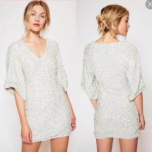 NWT Free People Party Girl Silver Sequin Dress 0